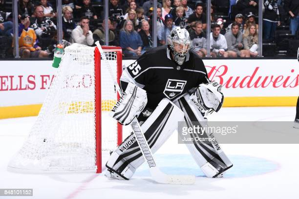 Darcy Kuemper of the Los Angeles Kings defends the net during a game against the Vancouver Canucks at STAPLES Center on September 16 2017 in Los...