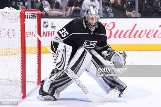 Darcy Kuemper of the Los Angeles Kings defends the net during a game against the Ottawa Senators at STAPLES Center on December 7 2017 in Los Angeles...