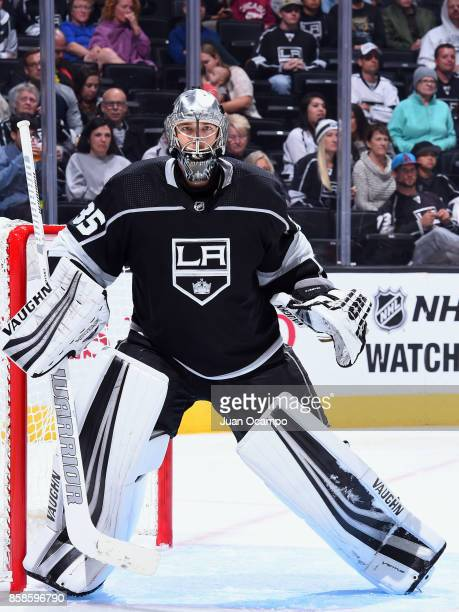Darcy Kuemper of the Los Angeles Kings holds the crease during the game against the Anaheim Ducks on September 30 2017 at Staples Center in Los...