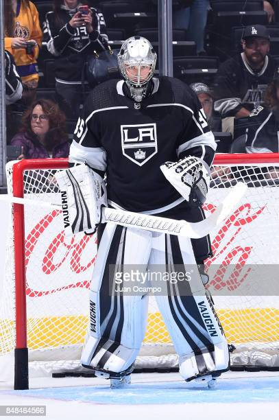 Darcy Kuemper of the Los Angeles Kings stands in goal before a game against the Vancouver Canucks at STAPLES Center on September 16 2017 in Los...