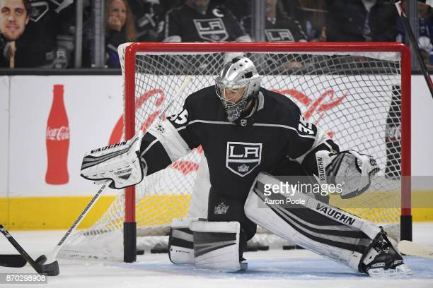 Darcy Kuemper of the Los Angeles Kings warms up before a game against the Toronto Maple Leafs at STAPLES Center on November 2 2017 in Los Angeles...
