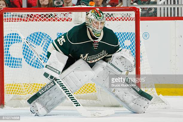 Darcy Kuemper of the Minnesota Wild defends his goal against the Dallas Stars during the game on February 9 2016 at the Xcel Energy Center in St Paul...