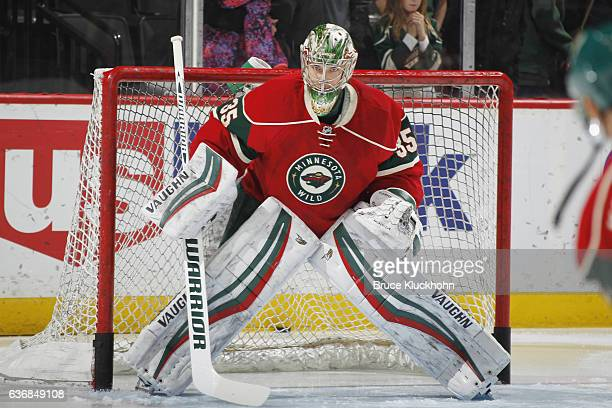 Darcy Kuemper of the Minnesota Wild defends his goal against the Arizona Coyotes during the game on December 17 2016 at the Xcel Energy Center in St...