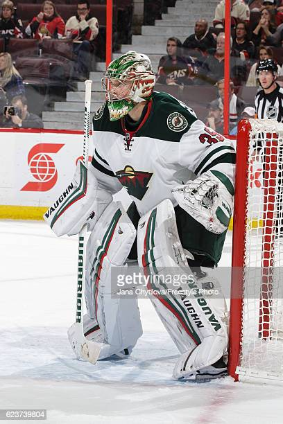 Darcy Kuemper of the Minnesota Wild guards his net against the Ottawa Senators at Canadian Tire Centre on November 13 2016 in Ottawa Ontario Canada