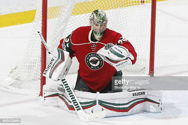 Darcy Kuemper of the Minnesota Wild makes a save against the Nashville Predators during the game on January 22 2017 at the Xcel Energy Center in St...
