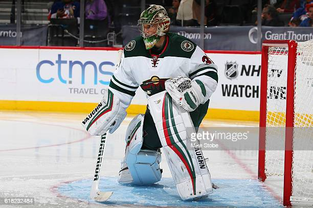 Darcy Kuemper of the Minnesota Wild skates against the New York Islanders at the Barclays Center on October 23 2016 in Brooklyn borough of New York...