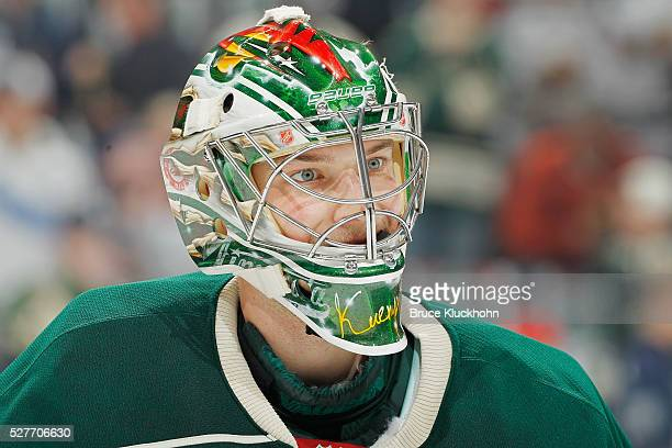 Darcy Kuemper of the Minnesota Wild warms up prior to playing against the Dallas Stars in Game Four of the Western Conference First Round during the...
