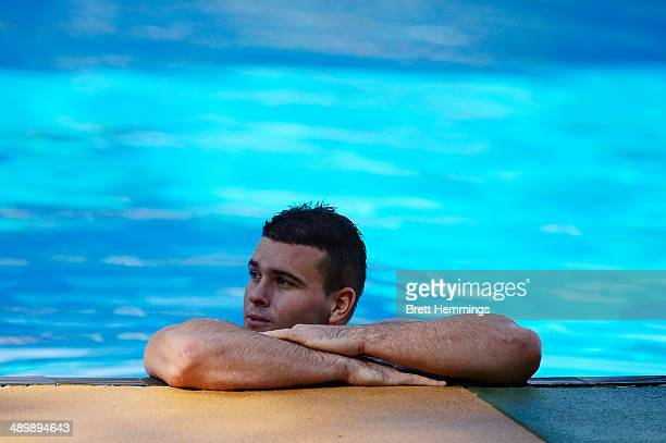 Darcy Lussick of the Eels looks on during a Parramatta Eels NRL recovery session at Pirtek Stadium on May 13 2014 in Sydney Australia