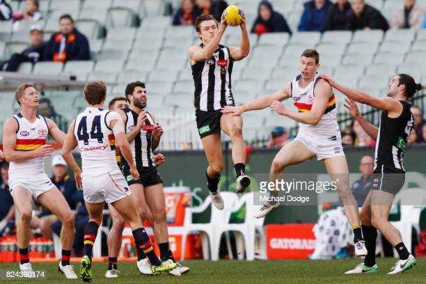Darcy Moore of the Magpies marks the ball against Josh Jenkins of the Crows during the round 19 AFL match between the Collingwood Magpies and the...