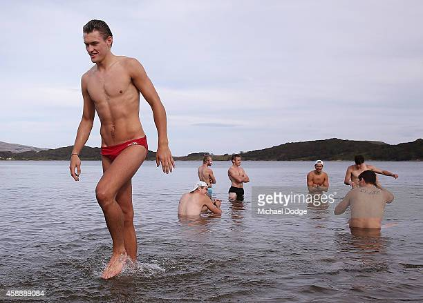 Darcy Moore takes part in a recovery session during a Collingwood Magpies AFL Fitness Camp on November 14 2014 in Falls Creek Australia