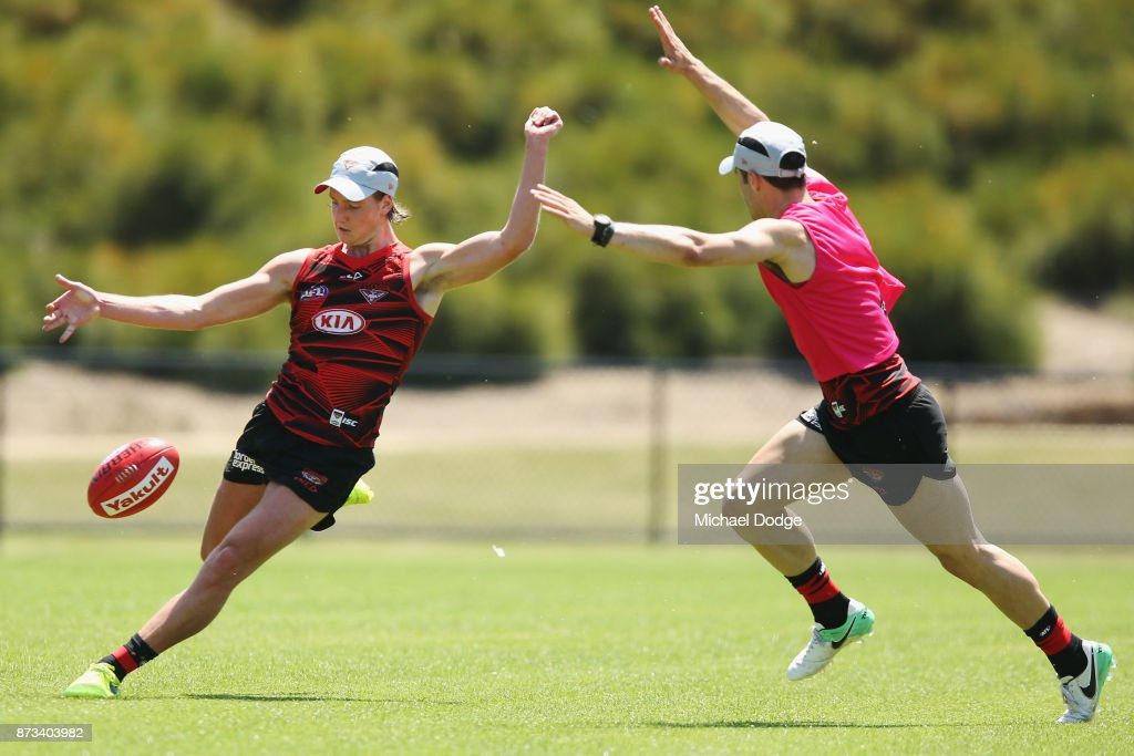 Darcy Parish of the Bombers kicks the ball during an Essendon Bombers AFL training session at the Essendon Football Club on November 13, 2017 in Melbourne, Australia.