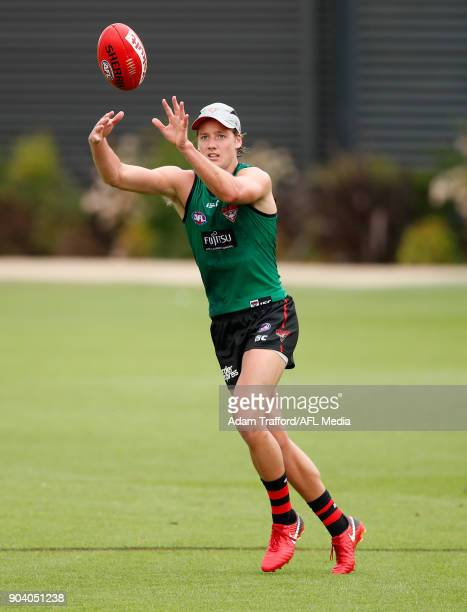 Darcy Parish of the Bombers marks the ball during the Essendon Bombers training session at The Hangar on January 12 2018 in Melbourne Australia