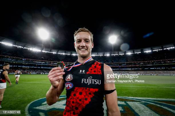 Darcy Parish of the Bombers wins the ANZAC Day medal for best of ground during the round six AFL match between the Collingwood Magpies and the...