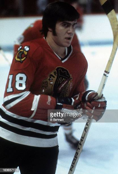 Darcy Rota of the Chicago Blackhawks skates on the ice during warmups before an NHL game against the Montreal Canadiens circa 1975 at the Montreal...