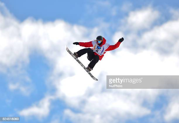 Darcy Sharpe from Canada during Men's' Snowboard Slopestyle final at FIS Freestyle World Ski Championship 2015 in Kreischberg Austria 21 January 2015...