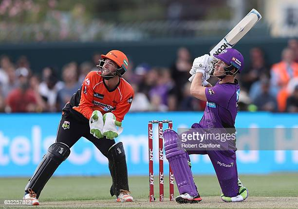 Darcy Short of the Hobart Hurricanes bats during the Big Bash League match between the Hobart Hurricanes and the Perth Scorchers at Blundstone Arena...