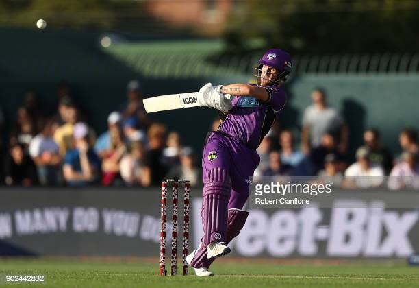 Darcy Short of the Hurricanes bats during the Big Bash League match between the Hobart Hurricanes and the Sydney Sixers at Blundstone Arena on...