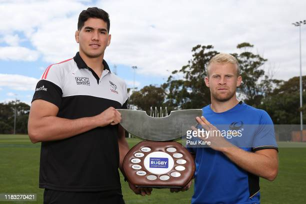 Darcy Swain of the Canberra Vikings and Andrew Deegan of the Western Force pose with the NRC Championship trophy during the 2019 NRC Final media...