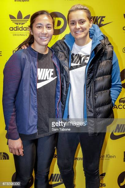 Darcy Vescio and Moana Hope arrive ahead of the JD Sports Australian Launch at JD Sports on April 26 2017 in Melbourne Australia