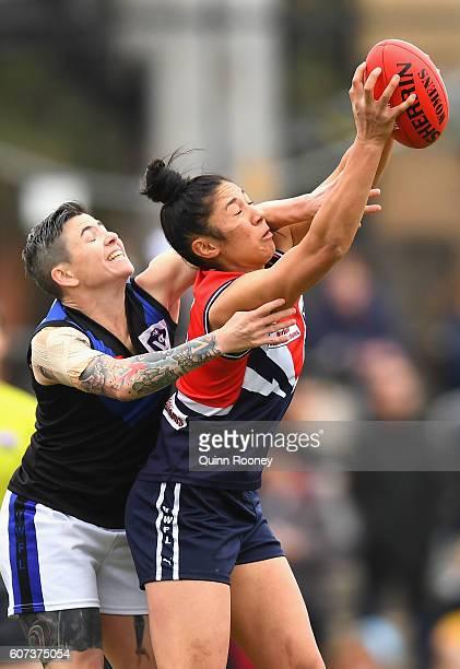 Darcy Vescio of Darebin marks during the VFL Women's Grand Final between Darebin v Melbourne University on September 18 2016 in Melbourne Australia
