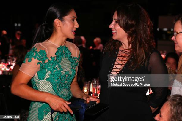 Darcy Vescio of the Blues and Libbi Gorr chat during the The W Awards at the Peninsula on March 28 2017 in Melbourne Australia