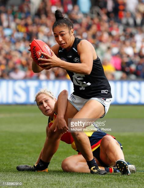 Darcy Vescio of the Blues and Marijana Rajcic of the Crows in action during the 2019 AFLW Grand Final match between the Adelaide Crows and the...