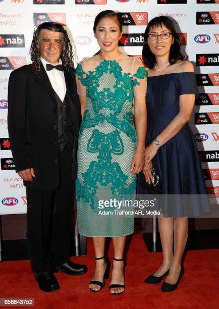 Darcy Vescio of the Blues arrives with family during the The W Awards at the Peninsula on March 28 2017 in Melbourne Australia