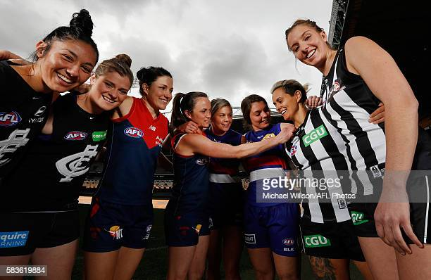 Darcy Vescio of the Blues Briana Davey of the Blues Melissa Hickey of the Demons Daisy Pearce of the Demons Katie Brennan of the Bulldogs Ellie...