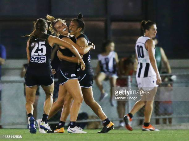 Darcy Vescio of the Blues celebrates a goal during the round five AFLW match between the Carlton Blues and the Collingwood Magpies at Ikon Park on...