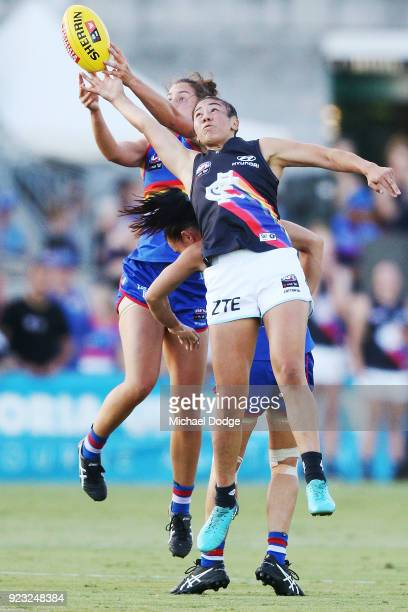 Darcy Vescio of the Blues competex for the ball during the round four AFLW match between the Western Bulldogs and the Carlton Blues at Whitten Oval...