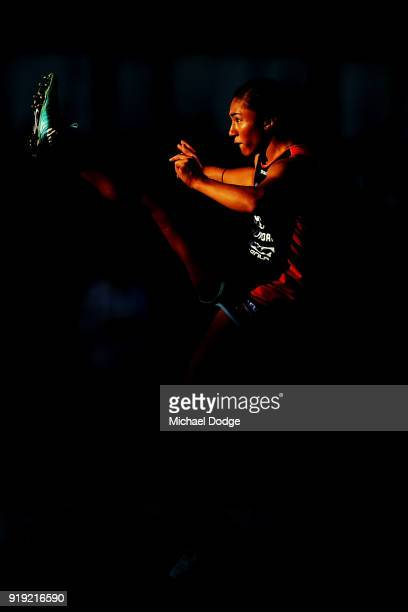Darcy Vescio of the Blues kicks the ball in the warm up during the round three AFLW match between the Carlton Blues and the Brisbane Lions at Ikon...