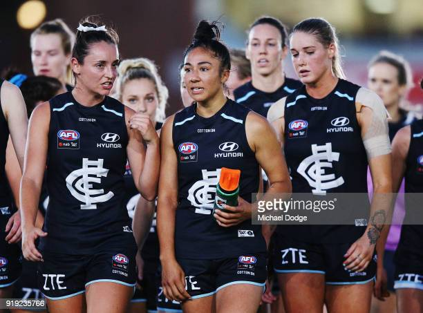 Darcy Vescio of the Blues leads the team off at half time during the round three AFLW match between the Carlton Blues and the Brisbane Lions at Ikon...