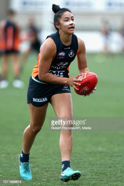 Darcy Vescio runs during a Carlton Blues AFLW training session at Visy Park on December 12 2018 in Melbourne Australia