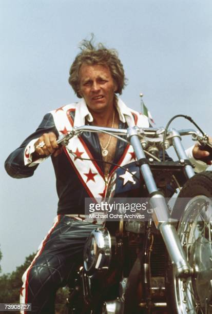 DaredEvel Evel Knievel poses on his motorcycle circa 1973