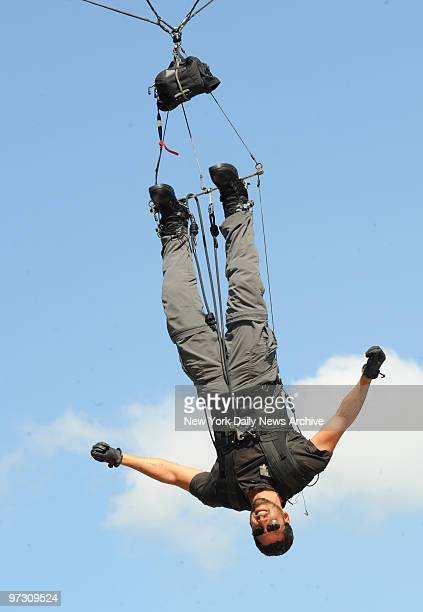 Daredevil David Blaine during his latest stunt in Wollman Rink where he is suspended upside down for 4 days