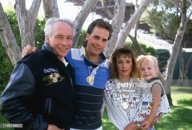 Daredevil Evel Knievel with his son Robbie Knievel and family in Las Vegas Nevada circa 1989