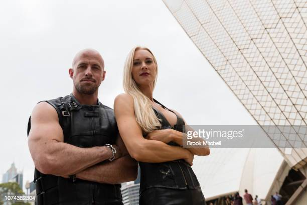 Daredevils Jonathon Goodwin and Tara Swift pose during a media call for The Illusionists Direct From Broadway at Sydney Opera House on December 19...