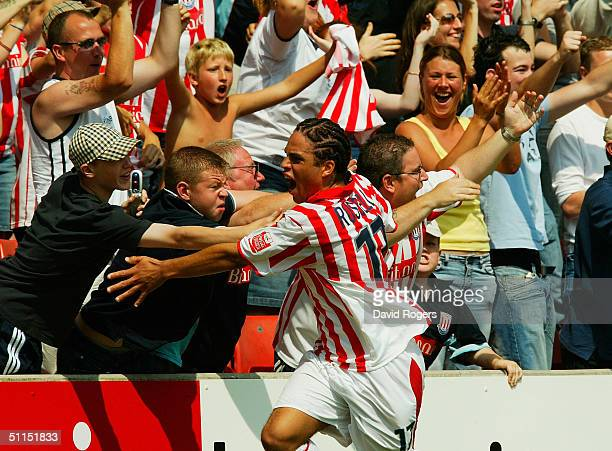 Darel Russell of Stoke City celebrates after scoring the first goal in the Coca-Cola Football League Championship match between Stoke City and...
