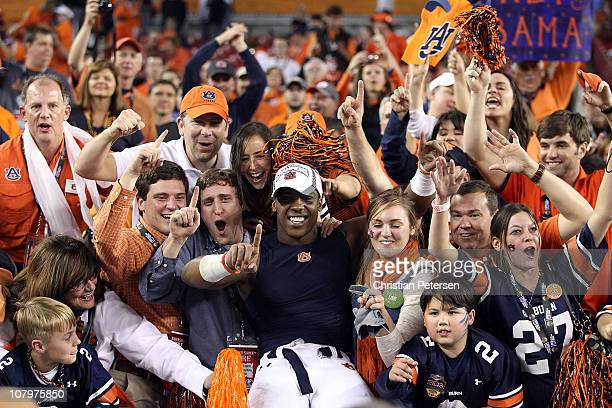 Daren Bates of the Auburn Tigers celebrates the Tigers 2219 victory against the Oregon Ducks in the Tostitos BCS National Championship Game at...