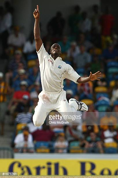 Daren Powell of the West Indies celebrates taking the wicket of Ricky Ponting of Australia during day three of the third test match between the West...