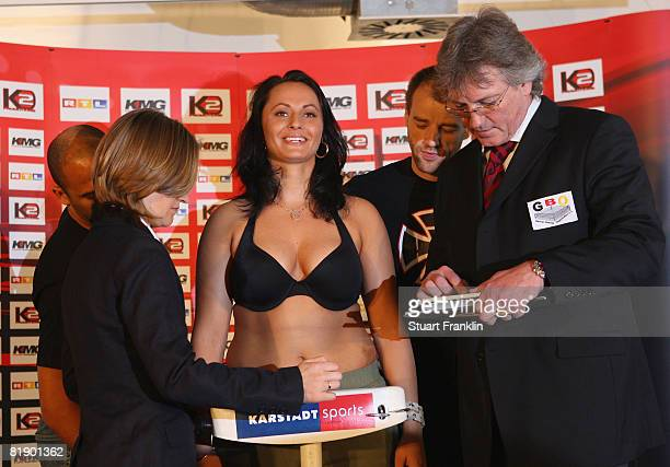 Daria Albers of Germany stands on the scales for the judges during the public weigh in at a Karstadt sports shop on July 11, 2008 in Hamburg, Germany.