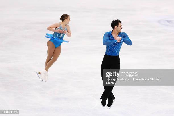 Daria Beklemisheva and Mark Magyar of Hungary compete in the Pairs Short Program during day one of the World Figure Skating Championships at Hartwall...