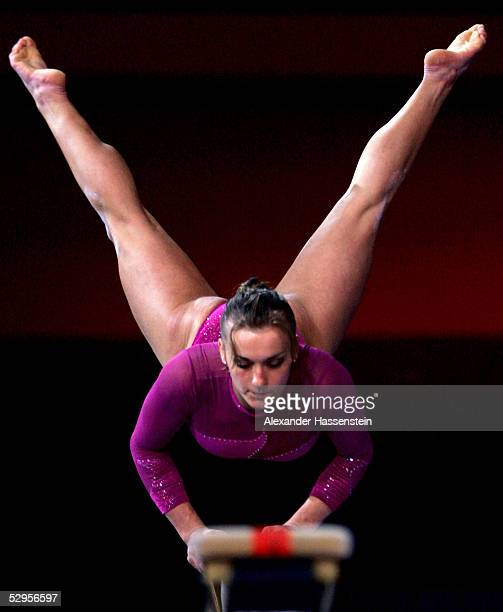 Daria Bijak of Germany performs on the beam during the international German gymnastics festival show of the masters on May 20 2005 in Berlin Germany
