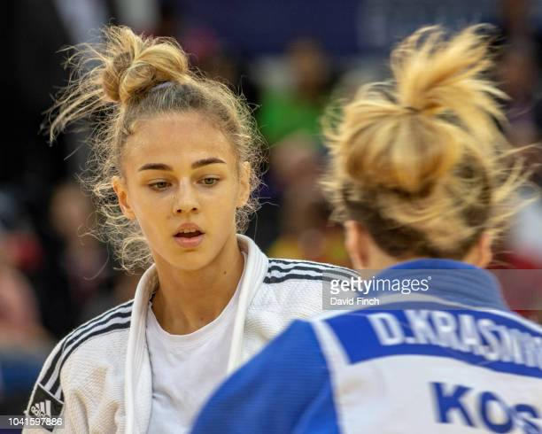 Daria Bilodid of the Ukraine defeated Distria Krasniqi of Kosovo by a wazari to reach the third round during day one of the 2018 Judo World...