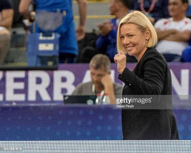 Daria Bilodid's mother Svetlana gives the thumbsup to her daughter on reaching the u48kg final during day one of the 2018 Baku Judo World...