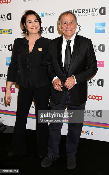 Daria Colombo and Roberto Vecchioni attend the Diversity Media Awards Gala on May 23 2016 in Milan Italy