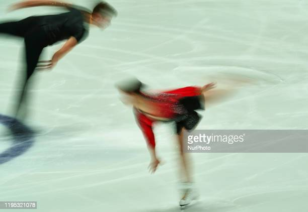 Daria Danilova and Michel Tsiba of Netherlands during Short Programme for pairs at ISU European Figure Skating Championships in Steiermarkhalle Graz...