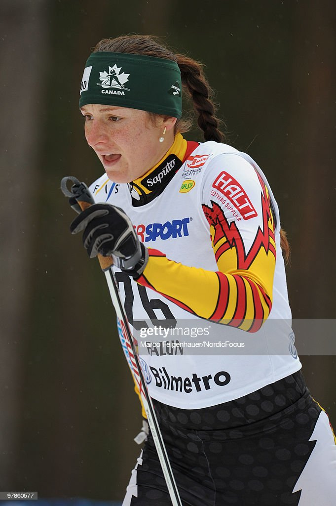 Daria Gaiazova of Canada competes in the women's 2,5 km Cross Country Skiing during the FIS World Cup on March 19, 2010 in Falun, Sweden.