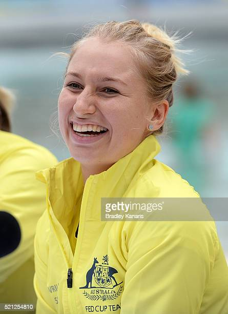 Daria Gavlirova laughs during the Fed Cup press conference at Southbank on April 15 2016 in Brisbane Australia