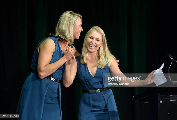 Daria Gavrilova and Alicia Molik share a laugh during the Fed Cup Official Dinner on April 14 2016 in Brisbane Australia